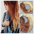 Полный Блеск Лента на Наращивание Волос Выметания Цвет 27 Меди и 613 Блондинка Ombre Ленты Уток Кожи Человеческих Волос