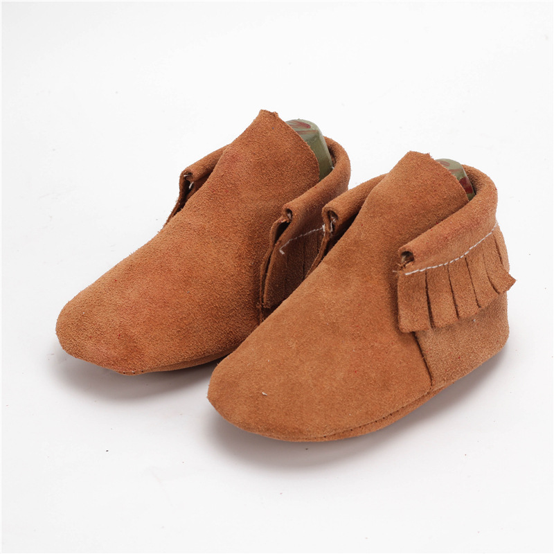Cow Suede Baby moccasins soft bottom Baby boys Shoes Real leather First Walkers Free shipping 0-24M