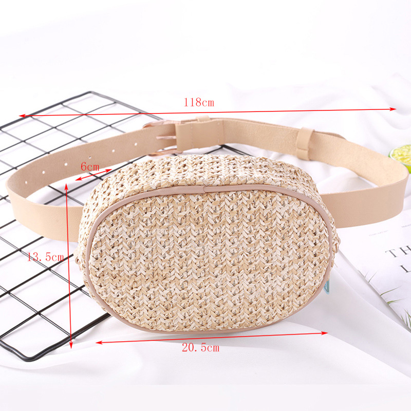 Waist Pack Bohemian Straw Bag Rattan Waist Bag Banana Bag Summer Beach Bag Waterproof PU Leather Belt Fanny Pack in Waist Packs from Luggage Bags