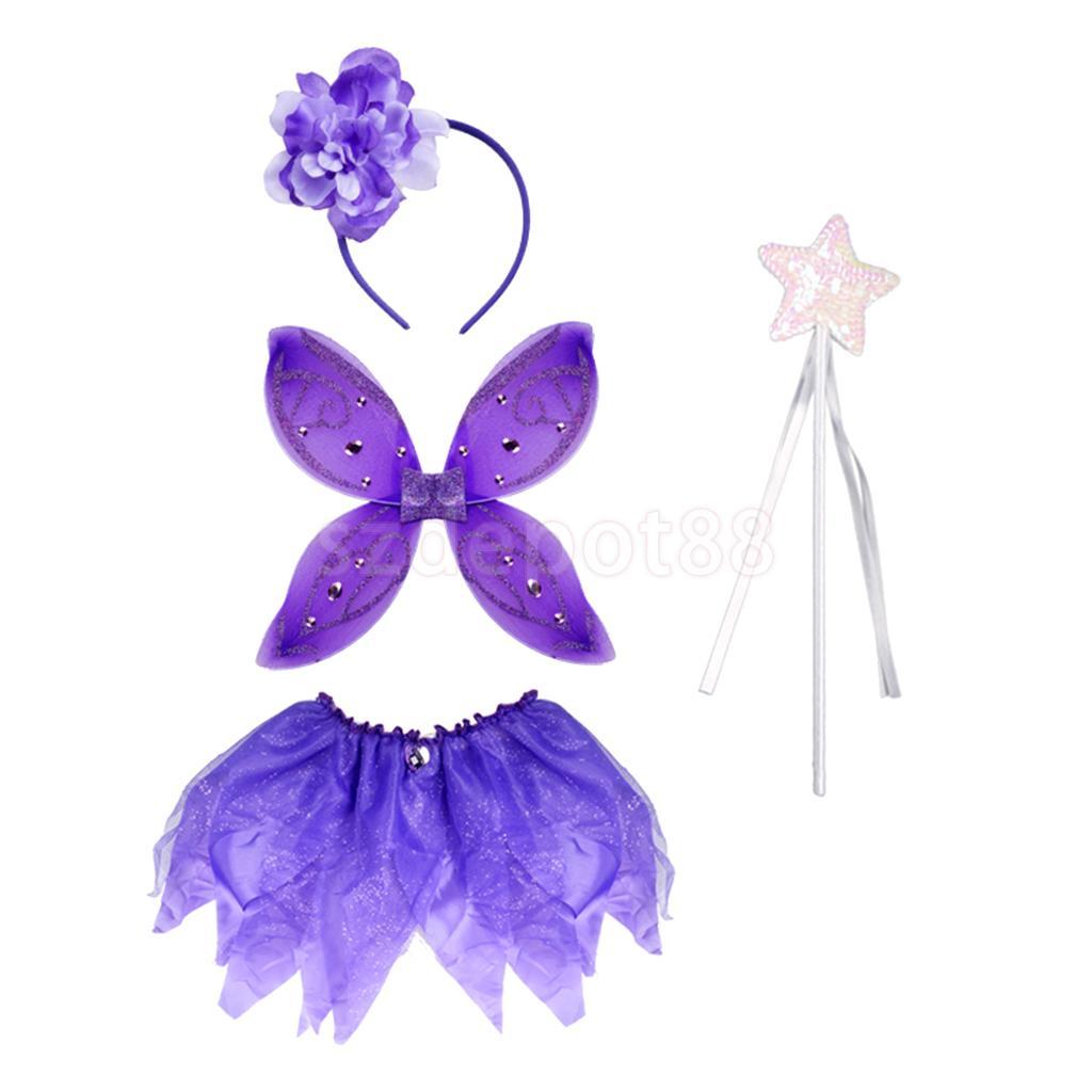 Girl Butterfly Fairy Wings Wand Headband Sequin Tutu Skirt Fancy Dress Accessory