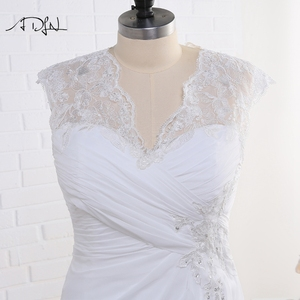 Image 4 - Adln 株式プラスサイズのウェディングドレスエレガントな v ネックホワイト/アイボリーアップリケビーズシフォンビーチ花嫁衣装 vestidos デ · ノビア