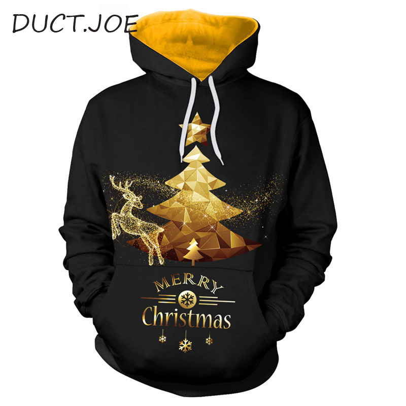 DUCTJOE Fashion Merry Christmas Hoodie Deer Star Tree Snowflake Print Women's Sweatshirt Black Couple Hoodie Winter Casual Top