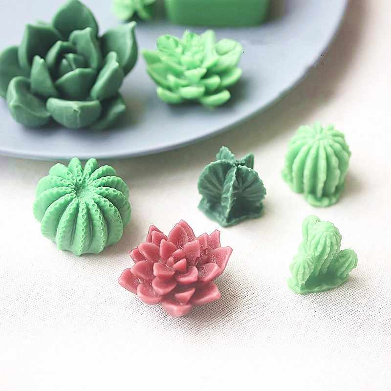Succulent Plant Silicone Wax Candle Mold Flower Cactus Candle Mould DIY Handmade Aroma Gypsum Plaster Molds Making Candle Form