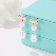 Irregular Freshwater Pearl Drop Earrings for Women Gold Color Bowknot Tassel Dangle Earrings Baroque Vintage Jewelry Accessories цена и фото