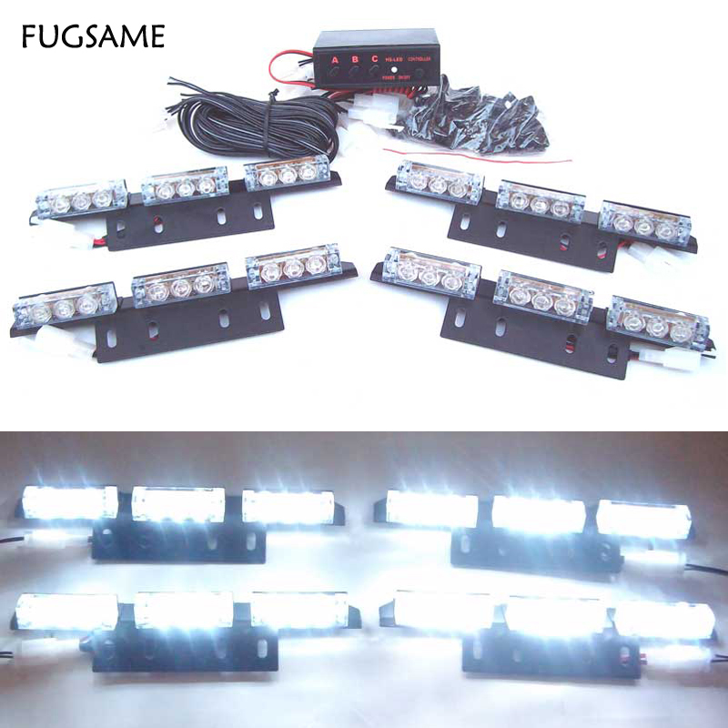4*9 36 LED Warning Blinking Strobe Flash Light Deck Dash  LED EMERGENCY STROBE LIGHTS 3 Mode 12V Red Blue White Green Amber 54 led emergency vehicle strobe lights bars warning deck dash grille amber white