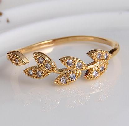 New Leaves adjustable RGP Fashion gold color plated zircon crystal rings Jewelry wholesale For Women B6.7D25211 ABC