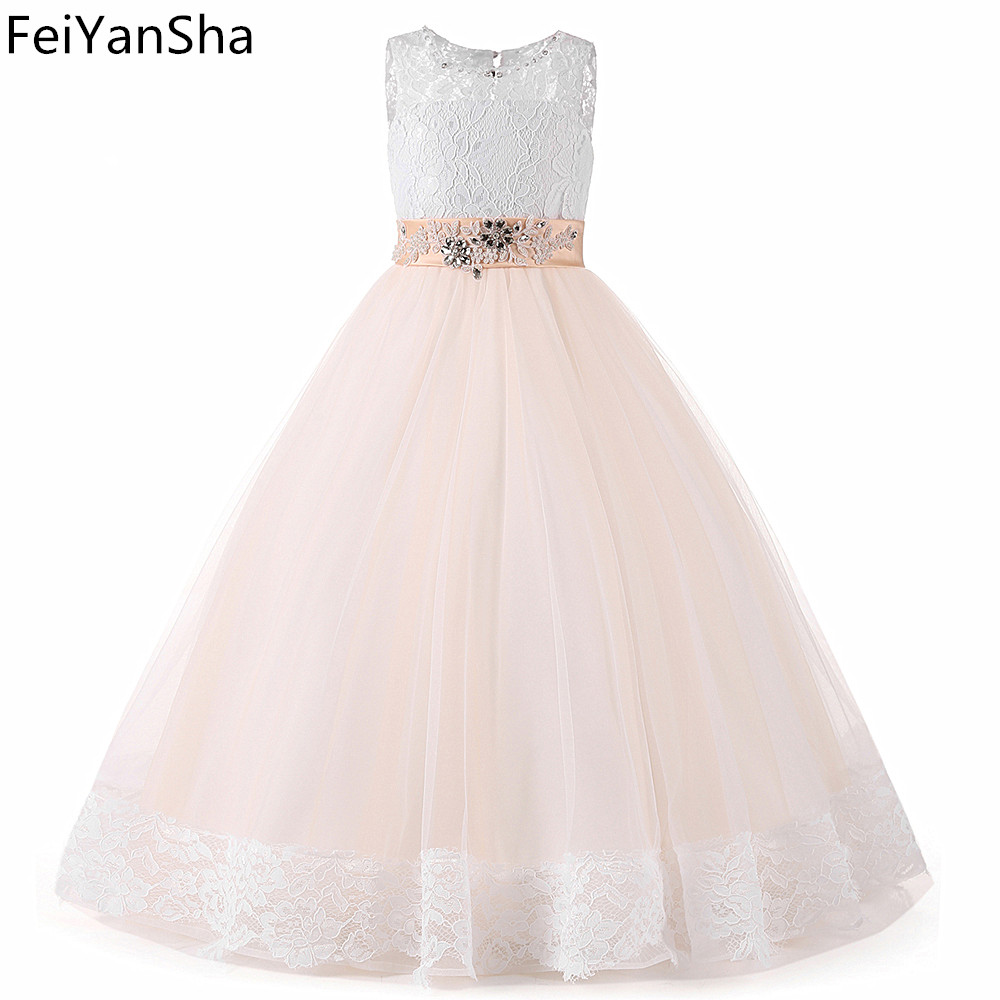 FeiYanSha Champagne Graduation Gowns Children Pageant Ball Gown Dresses For Girls Prom Dresses Iace Flower Girl Dresses