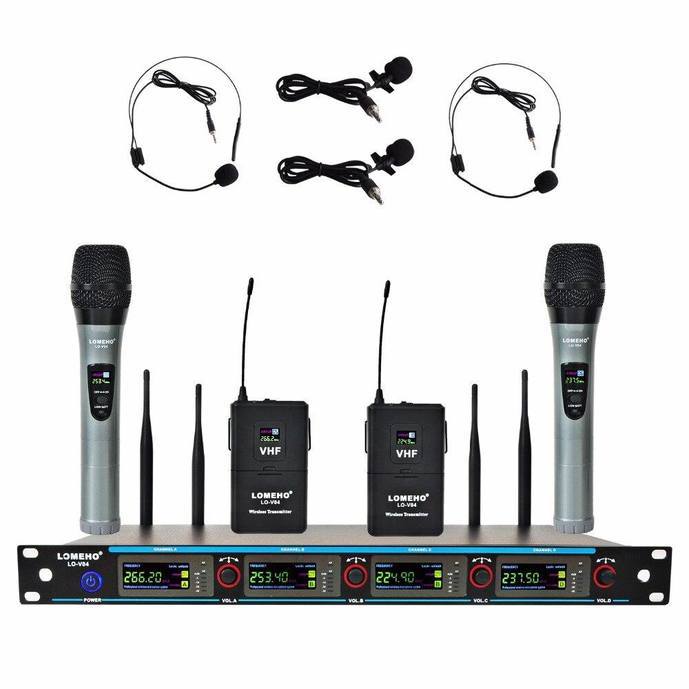 lomeho lo v04 4 channels 2 handheld mic and 2 headset 2 lavalier karaoke ktv party church vhf. Black Bedroom Furniture Sets. Home Design Ideas