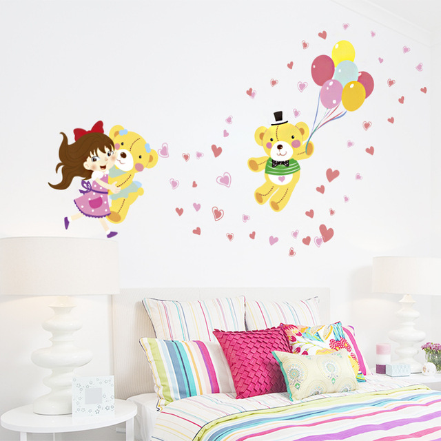 PVC Green Wall Stickers Cute Girl Holding Bear DIY Children Bedroom Bedroom  Decoration Stickers