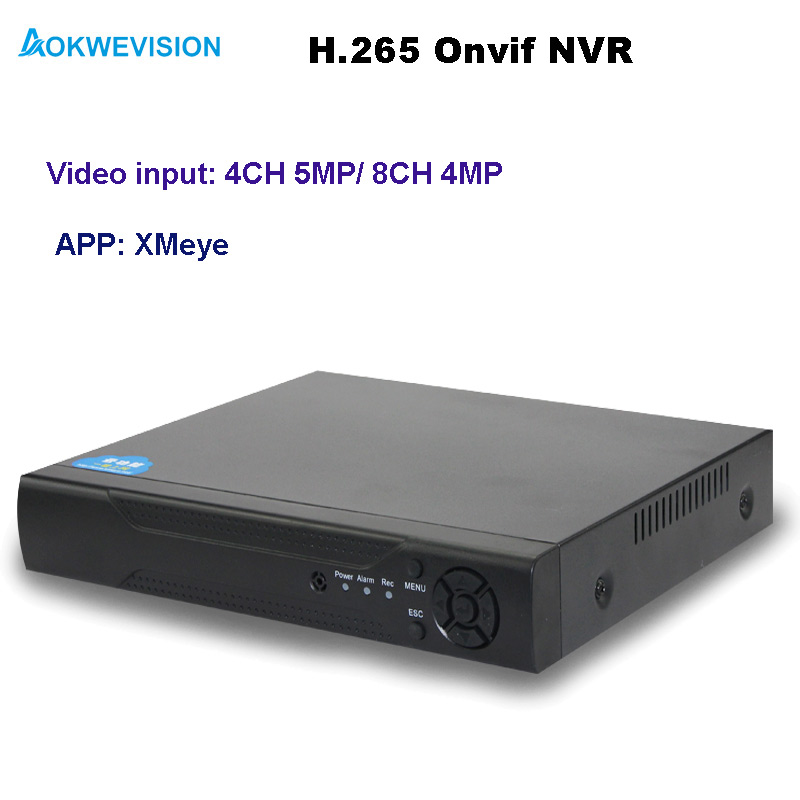 Aokwevision New arrival XMeye Onvif 4ch 8ch H.265 NVR network video recorder support 5MP and 4MP IP cameras
