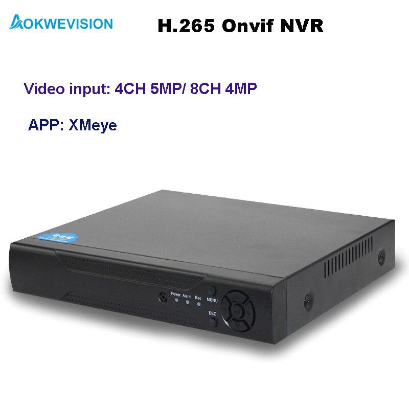 Aokwevision Nouvelle arrivée XMeye Onvif 4ch 8ch H.265 NVR réseau enregistreur vidéo support 5MP et 4MP IP caméras
