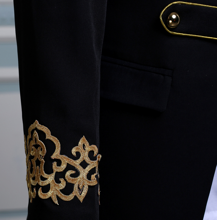 PYJTRL Men Double-breasted England Style Long Slim Fit Blazer Design Wedding Groom Suit Jacket Mens Stage Wear Singer Costume