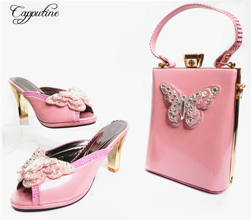 Capputine High Quality Africa PU Leather Woman Shoes Italian Style High Heels Shoes For Wedding Parties Wholesale Price G32 capputine new arrival fashion shoes and bag set high quality italian style woman high heels shoes and bags set for wedding party