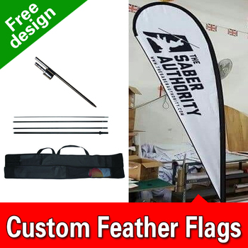 Free Design Free Shipping Single Sided Inground Spike Teardrop Flags Banners Wind Flags Advertising Outdoor Feather Banners Flut
