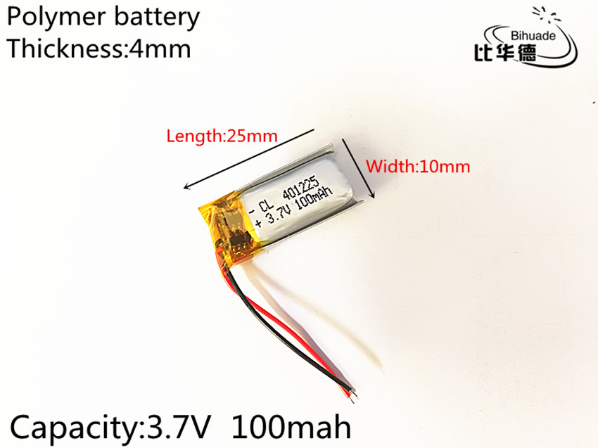 1pcs 3.7V,100mAH,401025 PLIB; polymer lithium ion / Li-ion battery for GPS,mp3,mp4,mp5,dvd,bluetooth,model toy mobile bluetooth wltoys v272 06 3 7v 100mah li polymer battery for v272 h111 helicopter silver