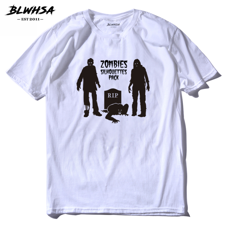 BLWHSA Funny Creative Zombies Silhouette R.I.P Design T-Shirt Mens Fashion Cool Hipster Tops Tee Short Summer Male T Shirt