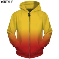 YOUTHUP Autumn Funny 3d Hoodies Men Gradient Solid Color Hoodies Zipper Hooded Sweatshirts Men Unisex Casual Cool Coat Tracksuit