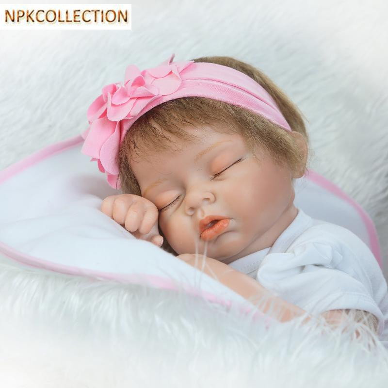 NPKCOLLECTION 20 Inch Baby Doll Toys For Children Silicone Reborn Alive Babies Lifelike Kids Toys Sleep Reborn Doll For Kid 14inch plush doll toys for children silicone reborn alive babies lifelike kids toys sleep reborn doll for children kid toy