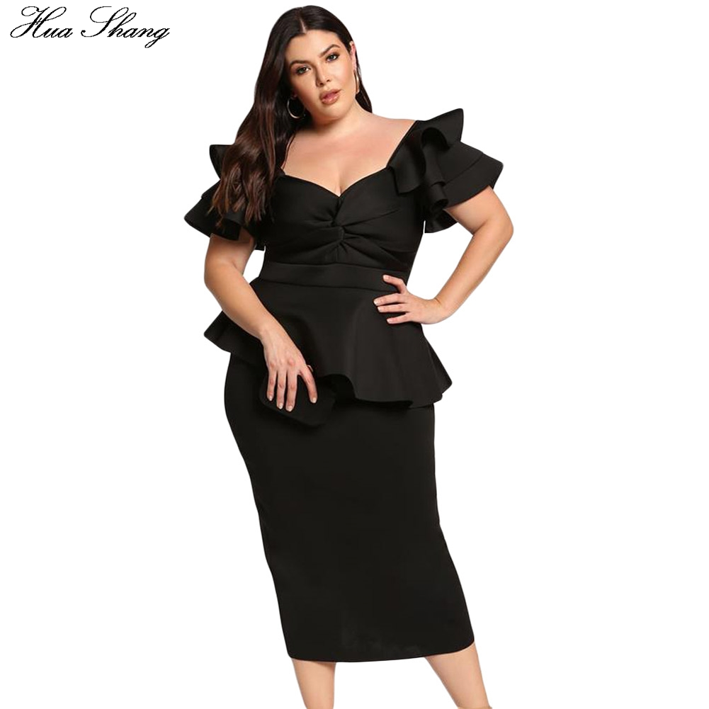 Plus Size Party Dress Women Summer Elegant Ruffles Short Sleeve High Waist Pencil Dresses Slim Bodycon