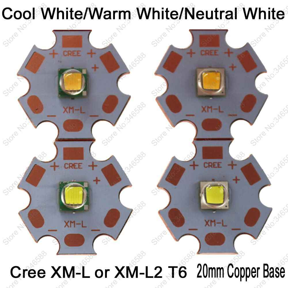 Cree XLamp XML XM-L or XML2 XM-L2 T6 10W High Power LED Emitter Diode on 20mm Copper Base, Cool White, Warm White, Neutral White