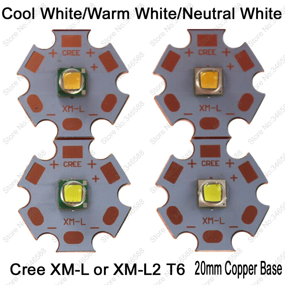 Cree XLamp XML XM-L or XML2 XM-L2 T6 10W High Power LED Emitter Diode on 20mm Copper Base, Cool White, Warm White, Neutral White светодиодная лампа 10 cree xlamp xml xm l t6 u2 10w 20 diy