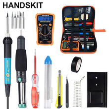 Handskit Soldering Iron 60W Adjustable Temperature Soldering Iron Kit  Digital Multimeter
