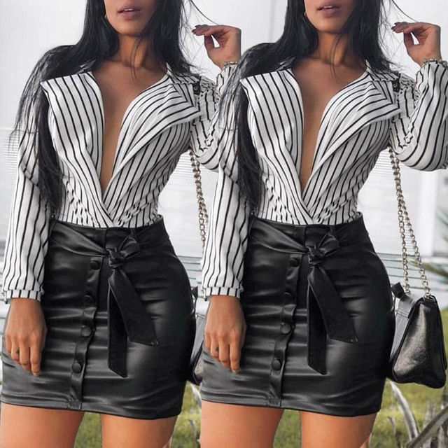 2018 New Style Fashion Women Ladies Summer Deep V-neck  Long Sleeve Loose Casual Casual Blouse Shirt Tops