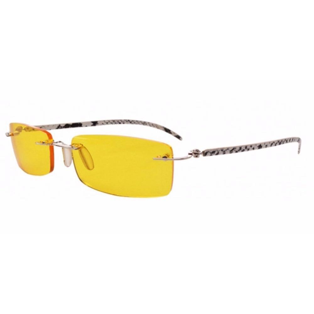 P001 Sin Montura Templos De Cuero Lente Amarilla Gafas de Conducción ...
