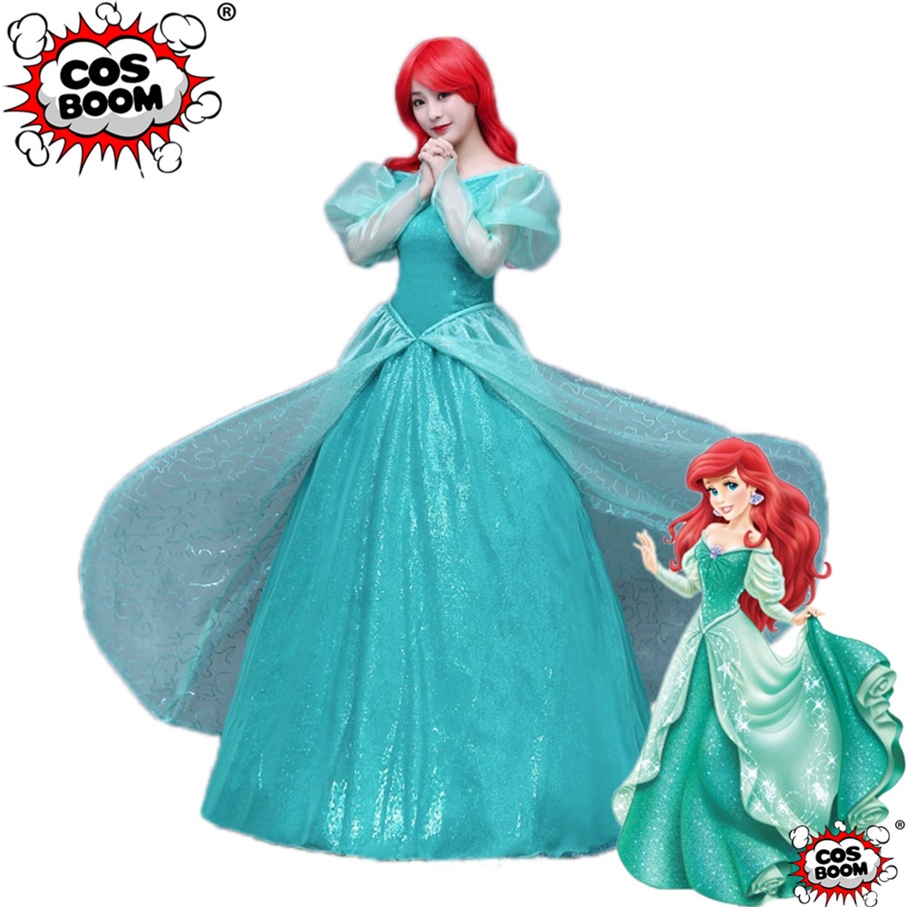 COSBOOM The Little Mermaid Cosplay Costume Halloween Carnival Party Dress Adult Ariel Princess Dress Cosplay Costume