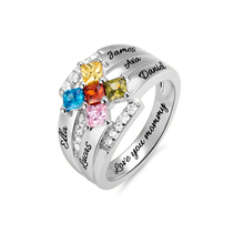 AILIN Mothers Ring Gifts Stone Rings for Women Personalized 5 Names and Birthstones Grandmothers