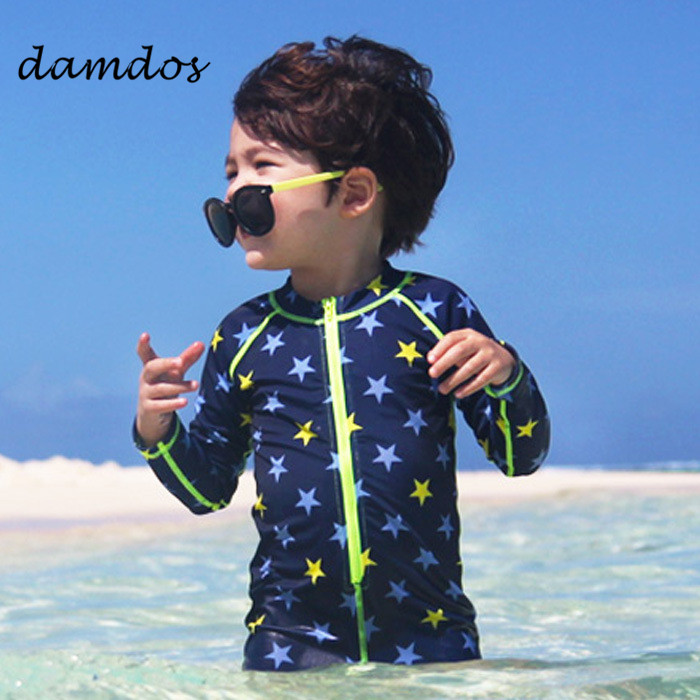 Kids Swimwuit Boys Swimwear Children Swimsuit Wear Shorts Cover-up Clothes BeachSuit Two ...