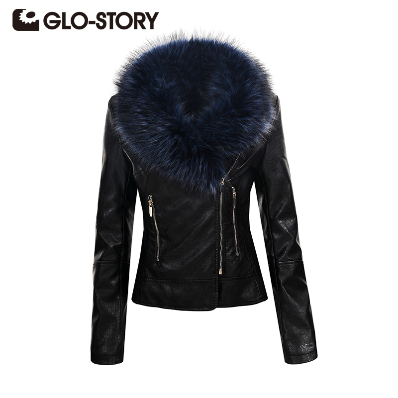 GLO STORY Winter Fur Collar PU Leather Jacket Women 2018 Fashion Slim Long Sleeve Jacket Outwear