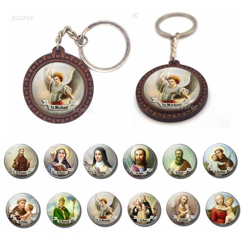 Virgin Mary Christian St Michael Clare Francis Religion Wooden Keychain Glass Cabochon Jewelry Women Men Pendant Key Chain Gift