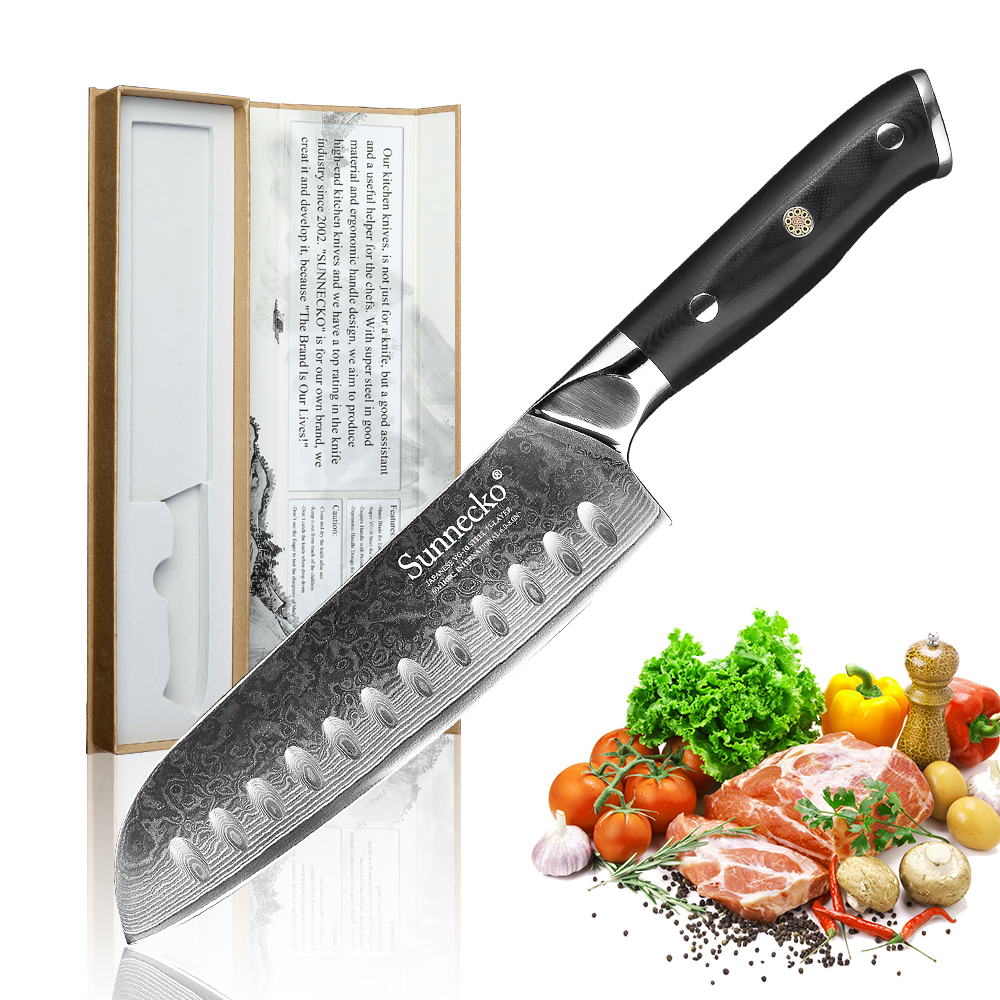 SUNNECKO 7 inch Santoku Kitchen Knives Damascus Steel VG10 Strong Blade Slicing Knife G10 Handle Fruit Meat Chopping Veg Paring