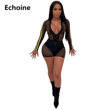 Sexy Sheer Mesh Transparent Playsuit Clubwear Outfit Side Striped Patchwork Bodysuit Skinny Bodycon See through Rompers Jumpsuit