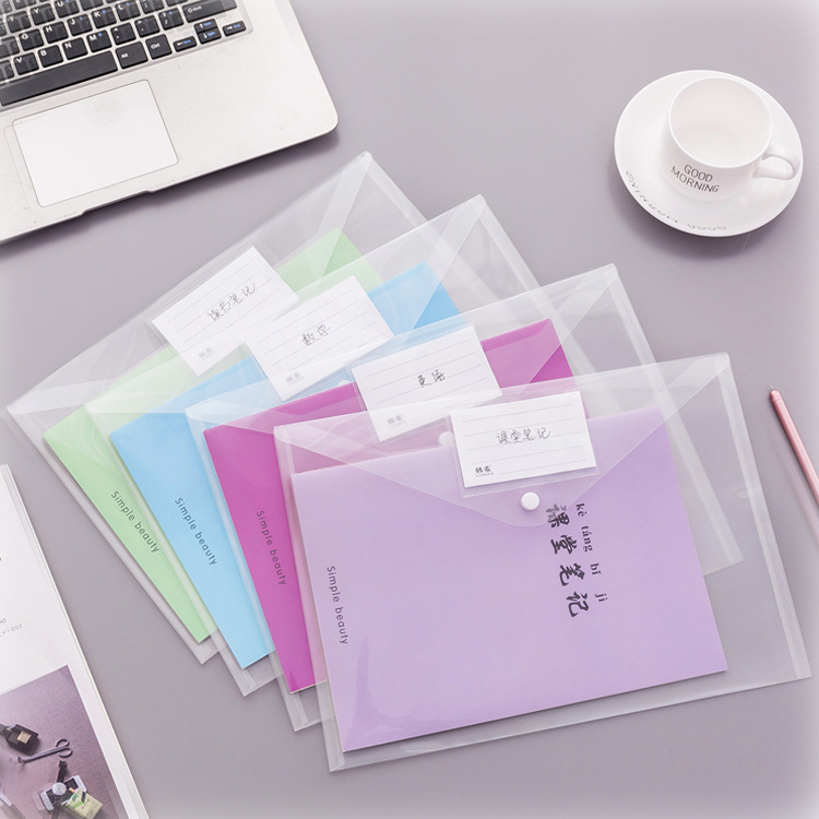 1pc Creative Simple Transparent A4 Button File Bag Documents Pouch School Supplies Office Stationery Gift
