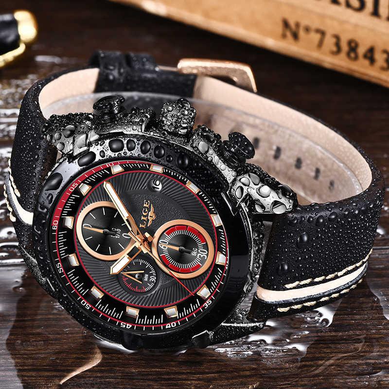 Relogio Masculino 2019 LIGE mężczyźni zegarka mody zegarek na co dzień top skórzany marka luksusowy zegarek kwarcowy mężczyźni wojskowy Sport wodoodporny zegar