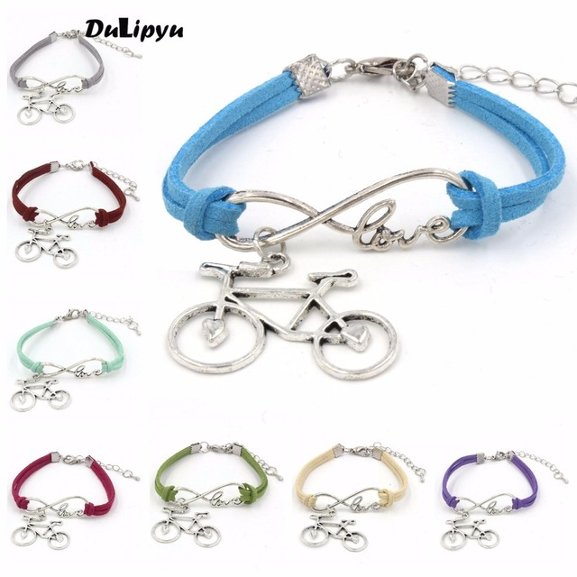 2pc Lot Jewelry Vintage Leather Rope Bicycle Charm Bracelet Personal Handmade Chain Bike Wrap