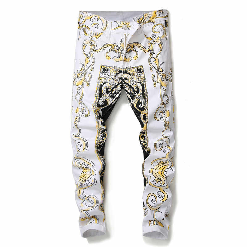 Luxury Gold Print Jean Homme Slim Designer Denims Jeans Men Skinny Fit Gold Denims Pant Men Erkek Kot Pantolon
