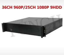 High quality 2U H.265 NVR 36CH 960P/25CH 1080P 9 SATA HDD CCTV NVR Recorder Support monitor PTZ on preview mode