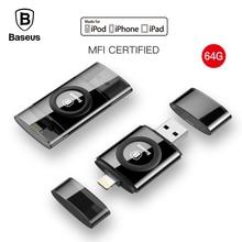 Baseus 2in1 MFI Certified U Disk For iPhone 5 6s 7 7s USB Flash Drive 64G Pendrive USB2.0 Memory Stick Phone USB Flash U Disk