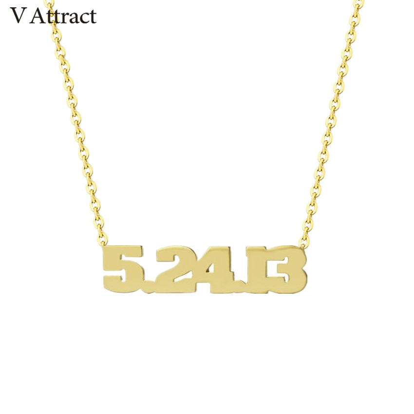 V Attract Birth Year Choker Personalized Number Necklace Women Men Jewelry Stainless Steel Letter Kolye Custom Birthday Gift number