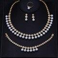 Luxo Branco Banhado A Ouro Forma Elegante Nupcial CZ Diamond e Pearl 4 pcs Grandes Conjuntos de Jóias de Casamento Para Noivas