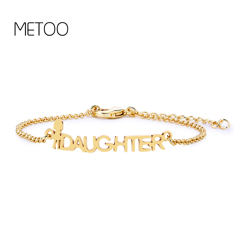 METOO Gifts for Mother Baby Bracelet Kids Gold Color Old English Letter Bracelet for Women Girl DAUGHTER Custom Chain Charm in Chain Link Bracelets from Jewelry Accessories