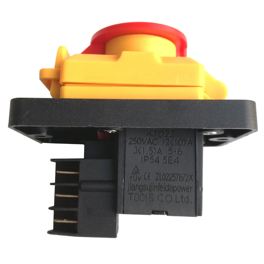 Industrial Waterproof KJD22 6pins IP54 250VAC 12(10)A 5E4 On/Off Electromagnetic Pushbutton Power Switches for Wood MachineIndustrial Waterproof KJD22 6pins IP54 250VAC 12(10)A 5E4 On/Off Electromagnetic Pushbutton Power Switches for Wood Machine