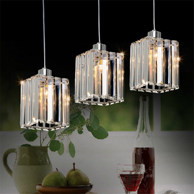 Modern crystal pendant light kitchen aisle crystal led for Contemporary kitchen pendant lighting