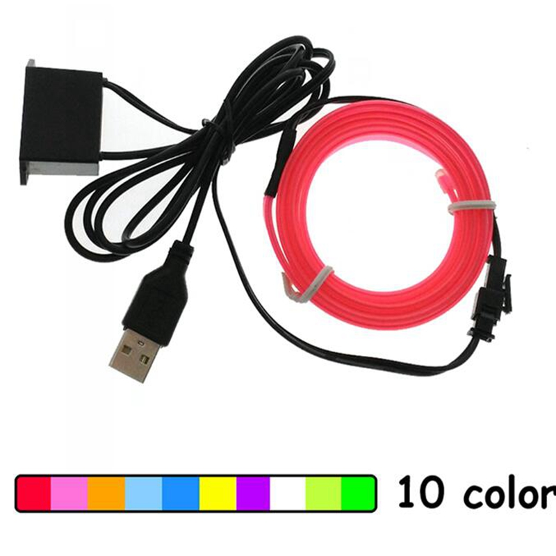 USB 5V EL Wire 6mm Sewing Edge Neon Led Strip Car Interior Lights Electroluminescent Halloween Holidays Dance Party Decor