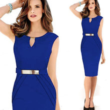 2018 spring and summer new. Sexy body repair, metal buckle small V collar pencil dress. Fashion Temperament clothing,  hot sale