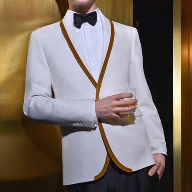 Latest Coat Pant Designs White Gold Trim Tuxedo jacket Prom Men Suit ...