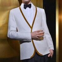 Latest Coat Pant Designs White Gold Trim Tuxedo Jacket Prom Men Suit Slim Fit Custom 2
